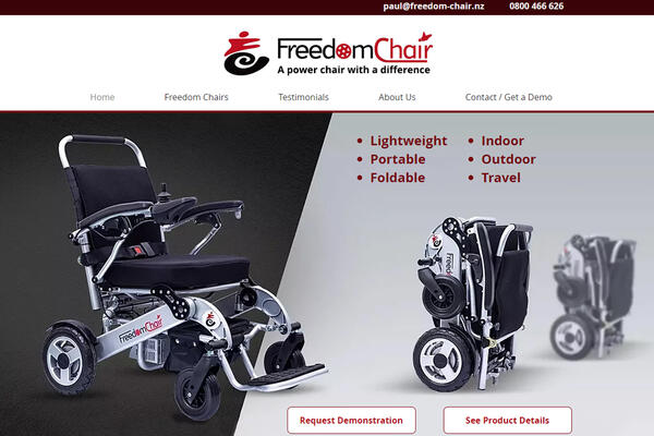 Home Page of the Freedom Chair website after rebuild